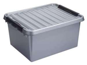 Stapelbare Q-line opbergbox 36 liter - grijs/zwart - 26x40x50 cm - Leen Bakker