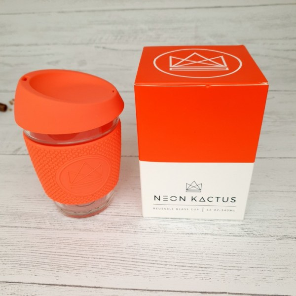Neon Kactus glass coffee cup