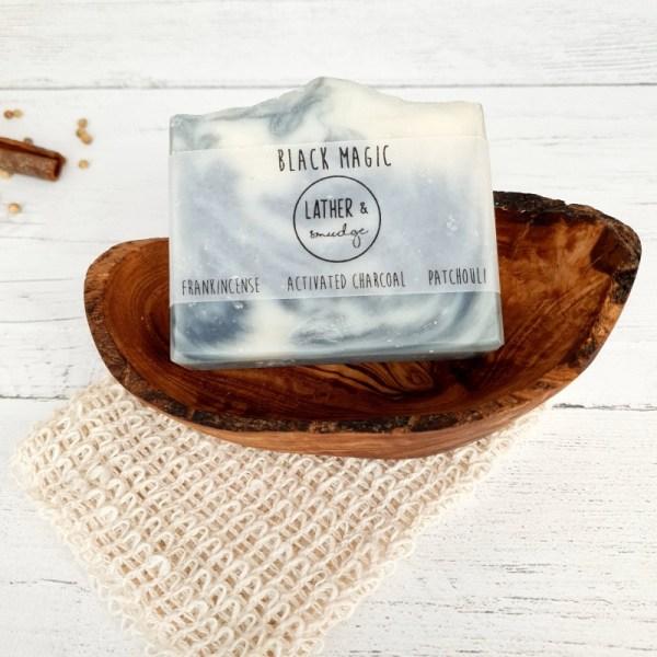 Activated charcoal, Kaolin Clay and Frankincence Natural Vegan Soap Bar - Black Magic 2