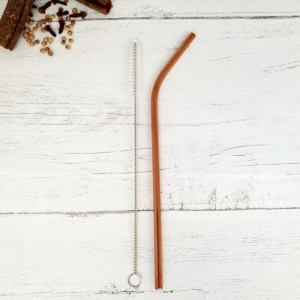 Rose Gold Reusable Metal Straw and Cleaner Brush - Zero waste Plastic Free