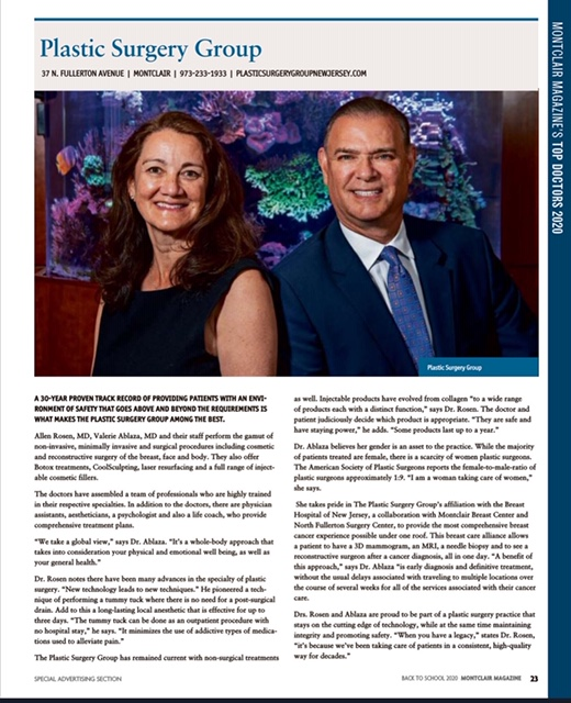 Dr. Rosen and Dr. Ablaza chosen top doctors of 2020 in Montclair Magazine