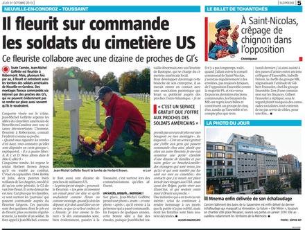 On parle de nous dans La Meuse - 31 octobre 2013