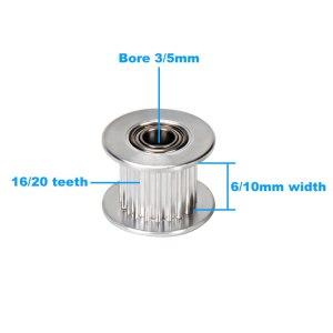 GT2 polea de distribución Idler 16 dientes 20 dentados, ancho de rueda de la correa 6mm 10mm Bore 3mm 5mm engranaje aluminio piezas de impresoras 3D