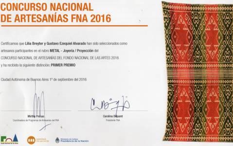 Primer premio Metal Proyección 2016 Fondo Nacional de  las Artes  En colaboración con Gustavo Nawel