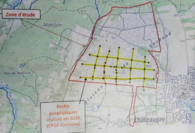Zone d'étude - 110 hectares - Projet de carrière à Châteaugay