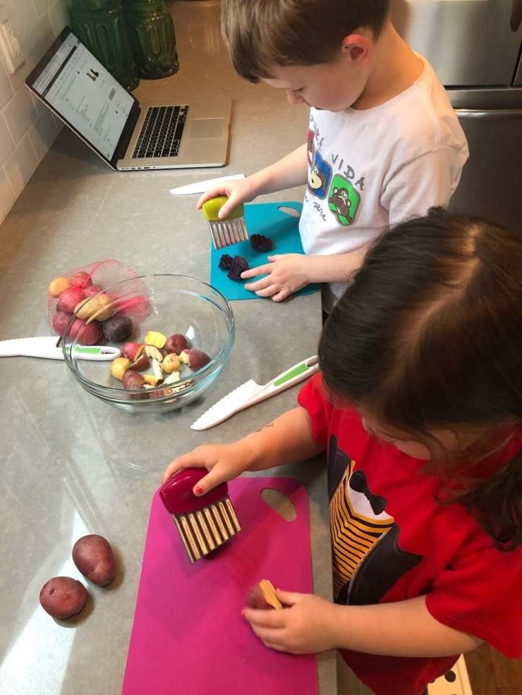 Kids Cut Potatoes with Joie choppers