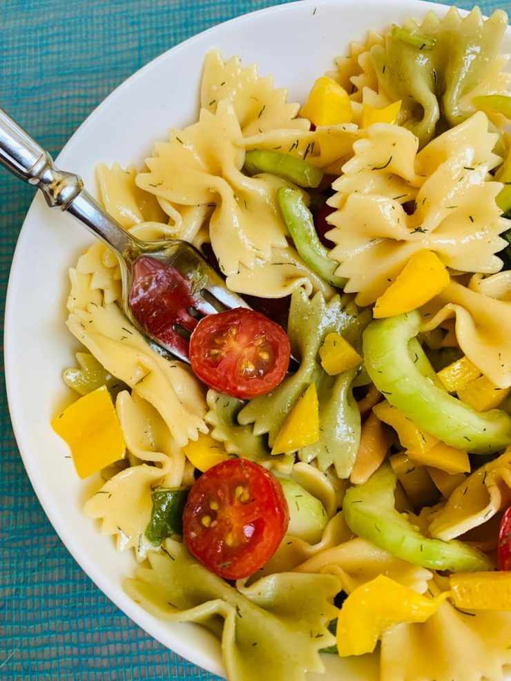 Plated Bow Tie Pasta Salad