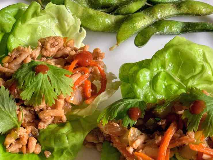 chicken lettuce wraps plated
