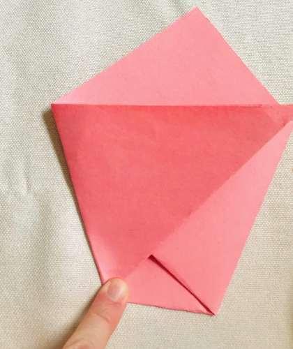 Folding left side over for paper chip bag