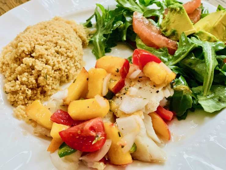 baked cod with peach salsa