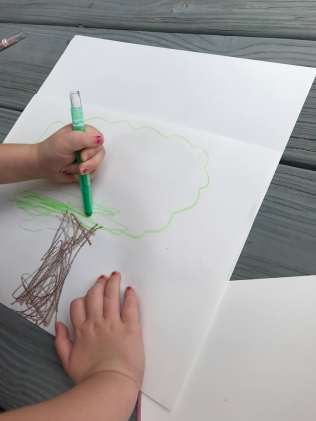child coloring in tree