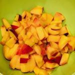 chopped peaches in a bowl