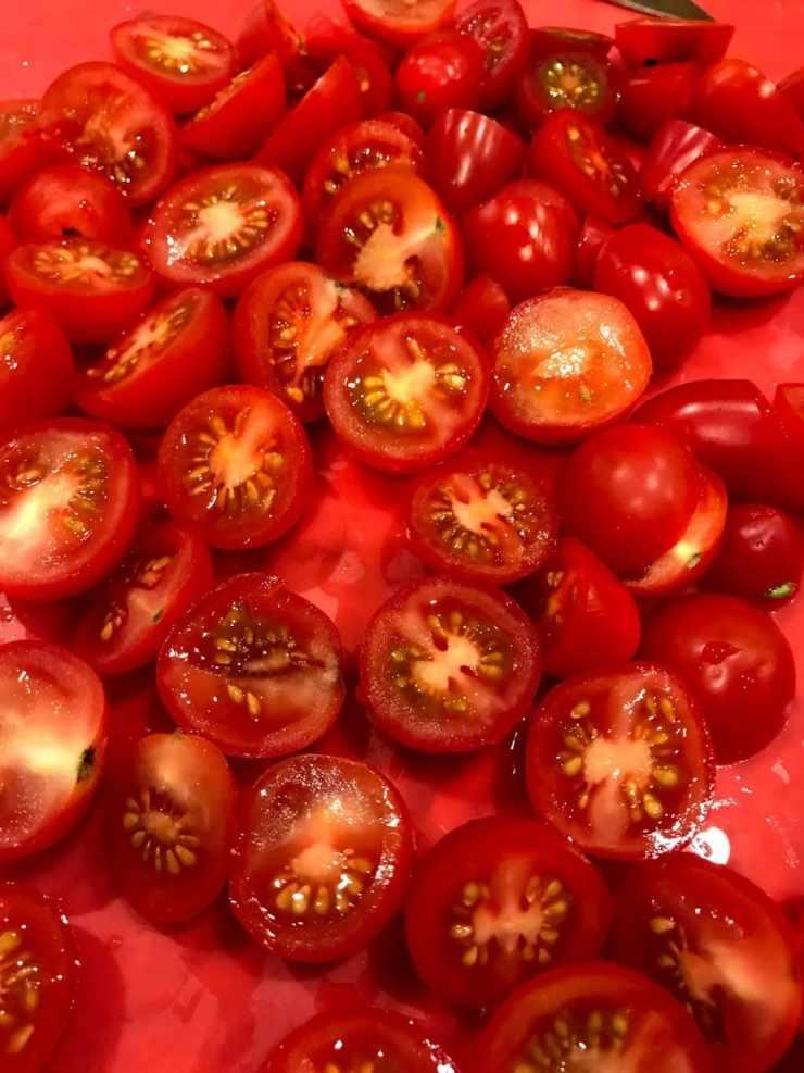 grape tomatoes cut in half
