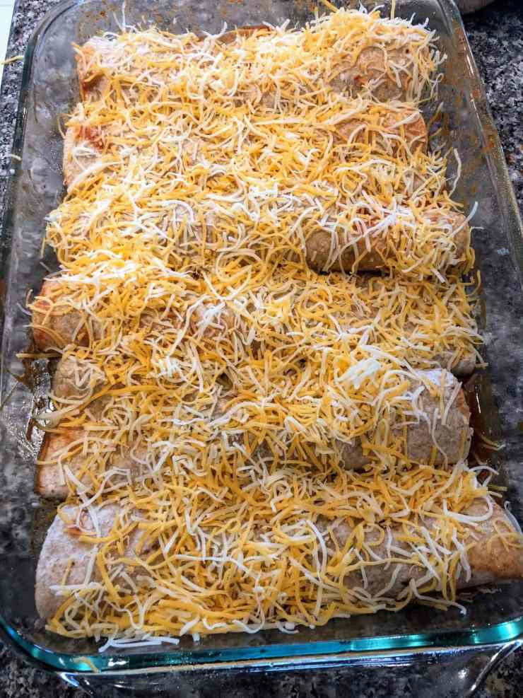 enchiladas in casserole dish before baking