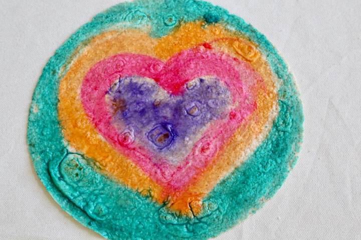 Heart-painted tortilla