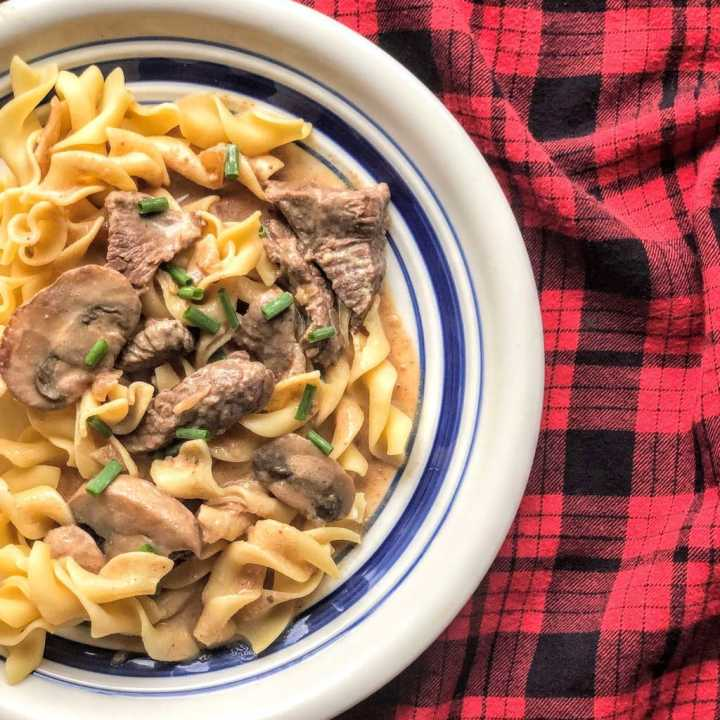 Classic Beef Stroganoff in plate