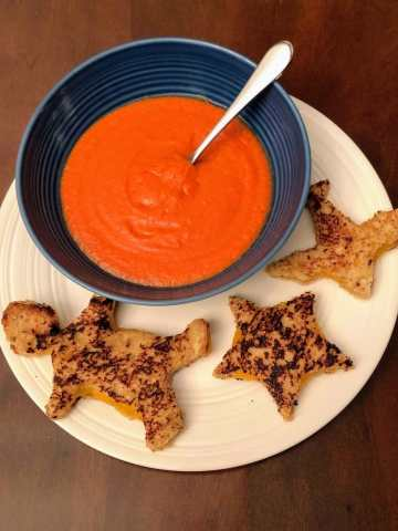 tomato soup and grilled cheese plated