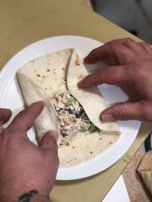 Fold in sides of tortilla