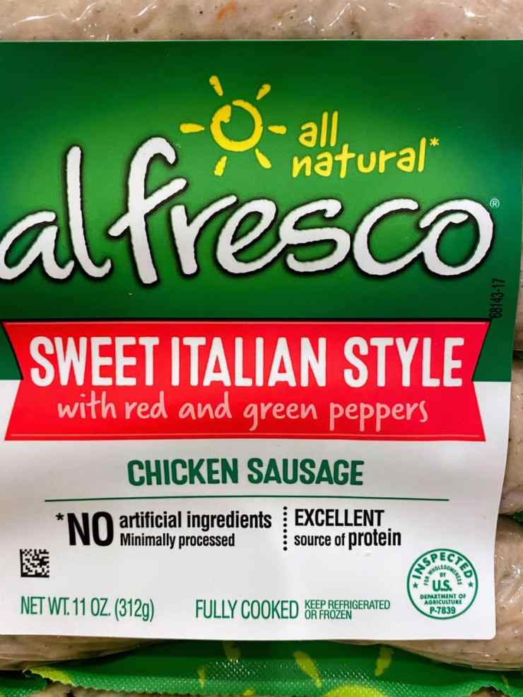 Package of al fresco chicken sausage