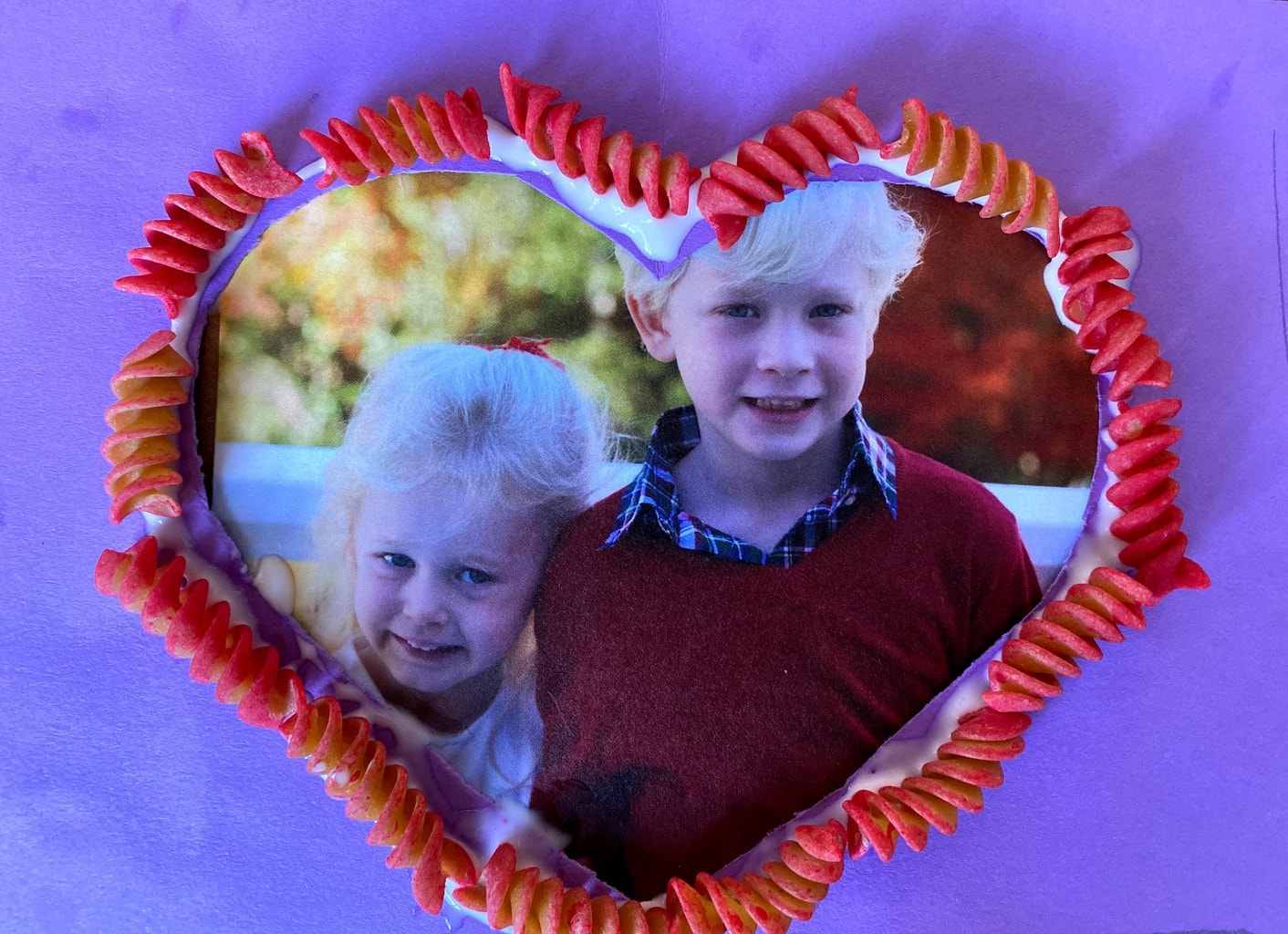 heart shaped frame with rotini