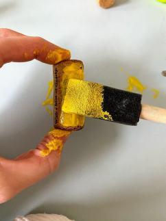 painting wine cork yellow