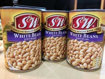 three cans of white navy beans