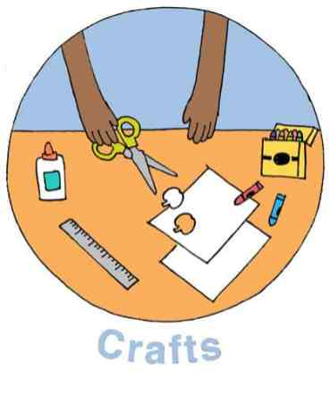 """illustration called """"Crafts"""" of child holding scissors and table filled with craft supplies"""