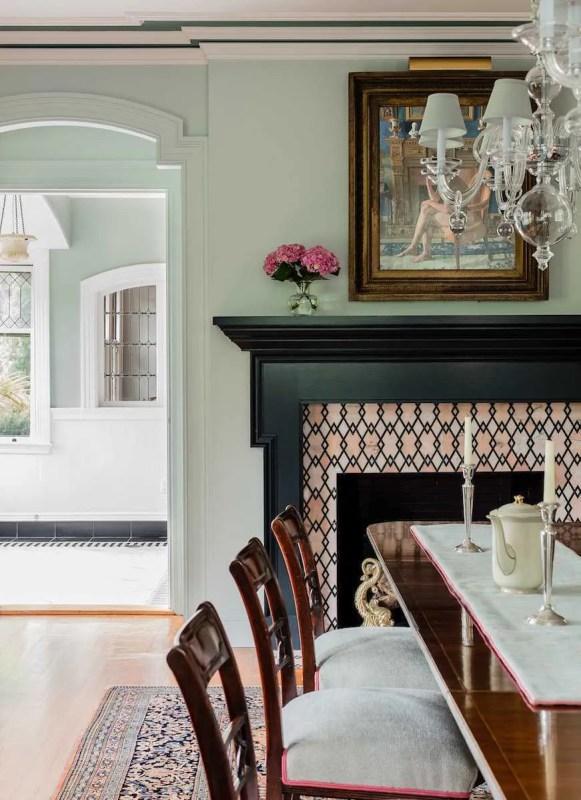 Platemark Interior Design Brookline Walnut Dining Room Fireplace