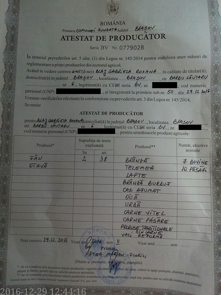 Certificat producator Ferma Blajinilor