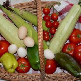 Mix de vară de la ferma Noastră tomate, rosii cherry, dovlecei, ardei, oua, telemea de vaca si porumb