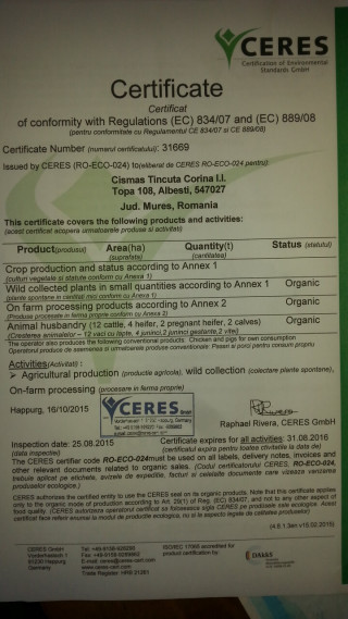 certificatul ecologic al Fermei Ecologice Topa (2)