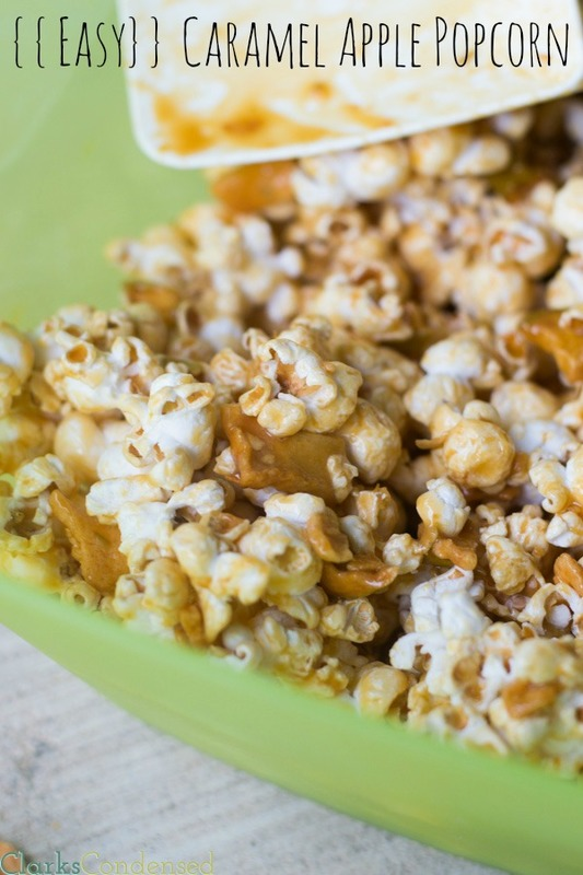 This caramel apple popcorn is perfect for fall and absolutely delicious!