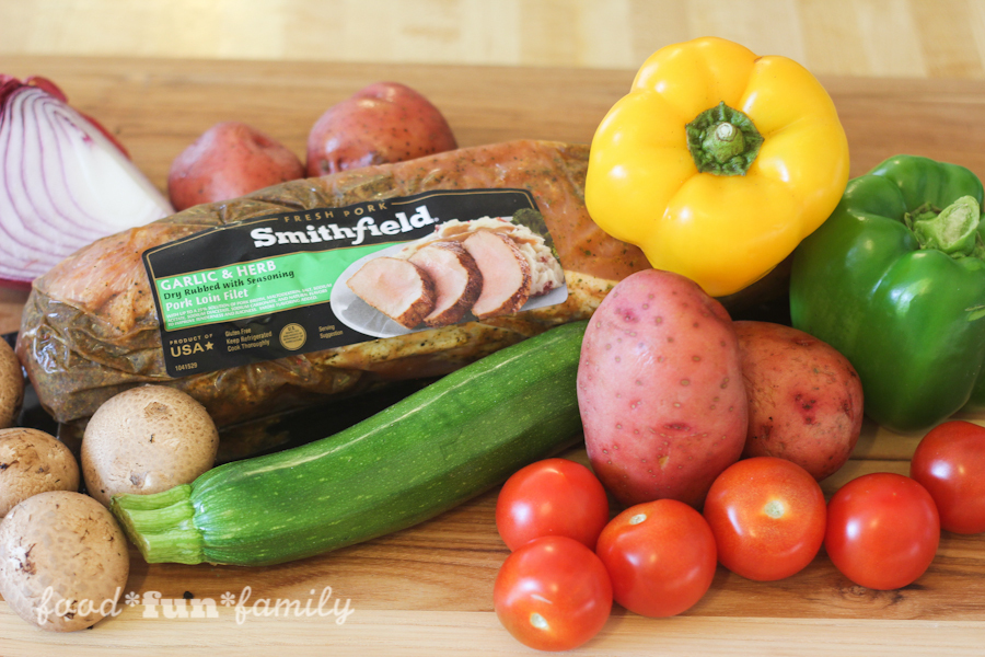 Marinated pork and vegetable kabobs