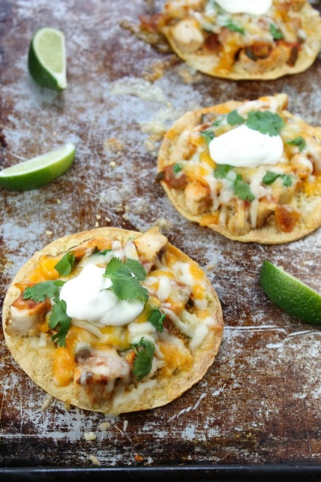 Cheesy Chicken Tostadas with Cilantro Lime Couscous from Miss in the Kitchen