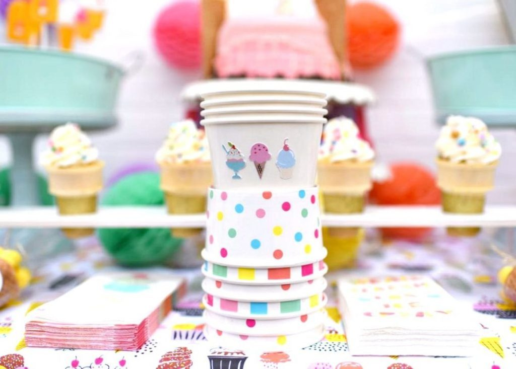 Ice cream party cups with Cricut Print and Cut Sticker Sheets