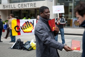 London activists tell shell staff justice is coming