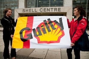 Ahead of the Wiwa v Shell trial, protestors demonstrate outside the Shell Centre, London, May 27th 2009
