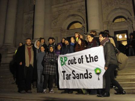 "The Reclaim Shakespeare Company chant ""Art Not Oil"" outside the Tate AGM"