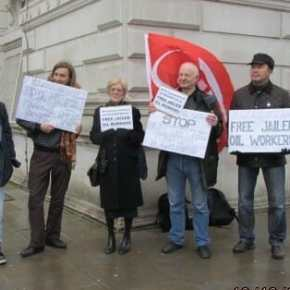 Protest in London today in solidarity with Kazakhstan oil workers