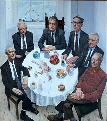 Gallus Gallus with Still Life and Presidents, by Stuart Pearson Wright. Winner BP Portrait Award 2001