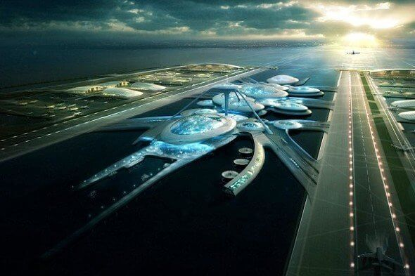 Foster Partners design for Thames Estuary airport - the 'offshore' fantasty