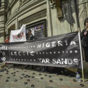 'Shell No!' Paddle to Seattle indigenous Activists Reach Westminster Shell Investor Meeting