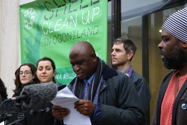 Lazarus Tamana - MOSOP - reading at Vigil for Ogoni 9 at the Shell Centre