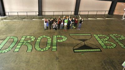 Deadline Festival participants call on Tate to drop BP, December 2015. Photograph by Martin LeSanto-Smith