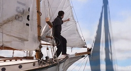 The Truman Show - Truman's sailing boat punctures the horizon