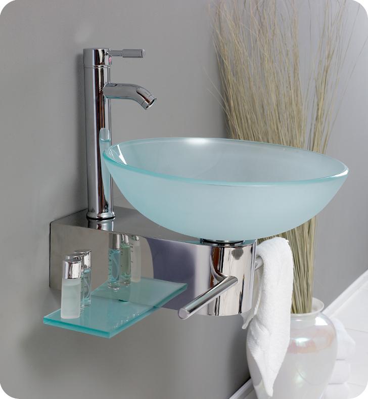 18 cristallino modern glass bathroom vanity w frosted vessel sink