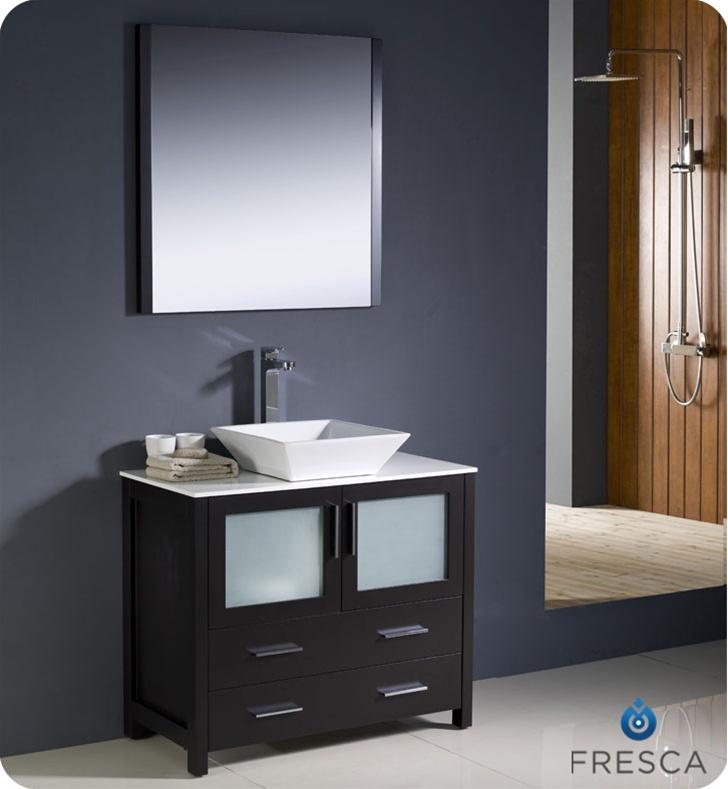 36″ Torino Espresso Modern Bathroom Vanity w/ Vessel Sink ...