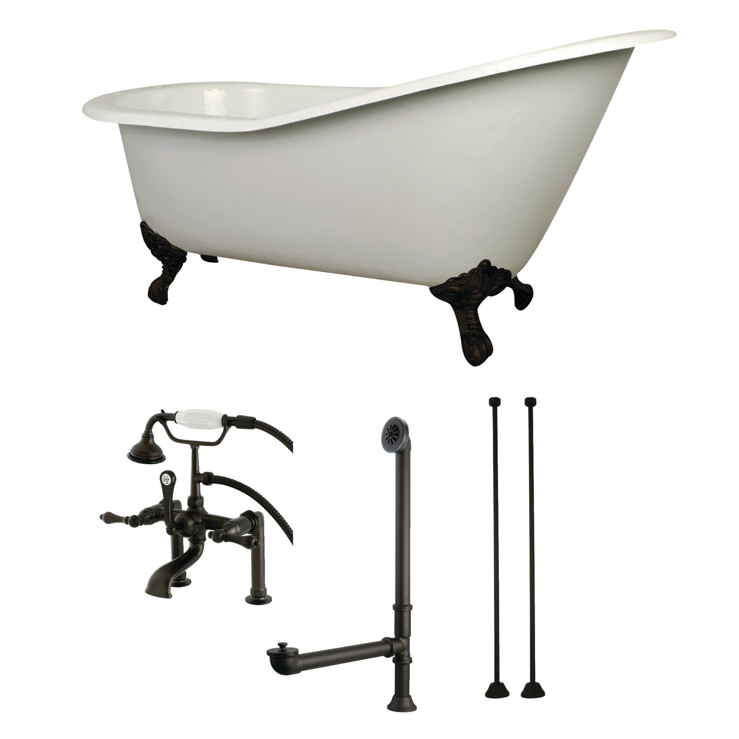 62 inch cast iron clawfoot tub with faucet drain and supply lines package in oil rubbed bronze