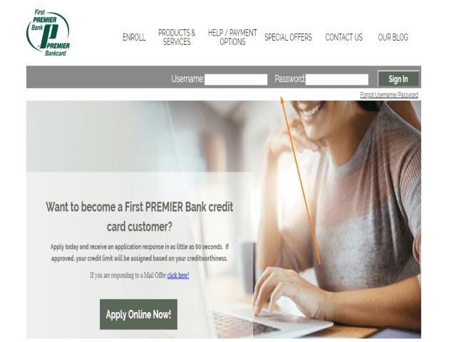 First Premier Credit Card Application Status username