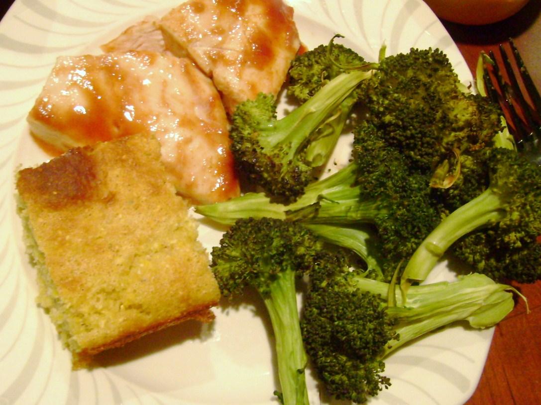 Killer Cornbread, BBQ Chicken, Roasted Broccoli Fries